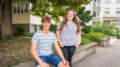 Unterwegs in Bruchsal - Tim Schowalter und Lea Zimmermann-Häfner unterwegs in Bruchsal