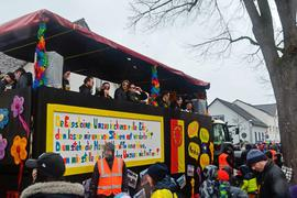 Das mögliche Aus des Eggensteiner Faschingsumzug hatten die Narren in diesem Jahr thematisiert: Sie wollen sich die Traditionsveranstaltung nicht kaputtmachen lassen.