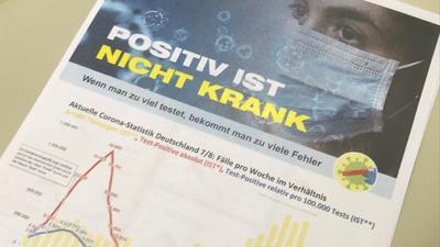 Corona-Flyer mit der Behauptung: Wenn man zu viel testet, bekommt man zu viele Fehler. Das Gesundheitsamt des Landkreises widerspricht der Aussage.