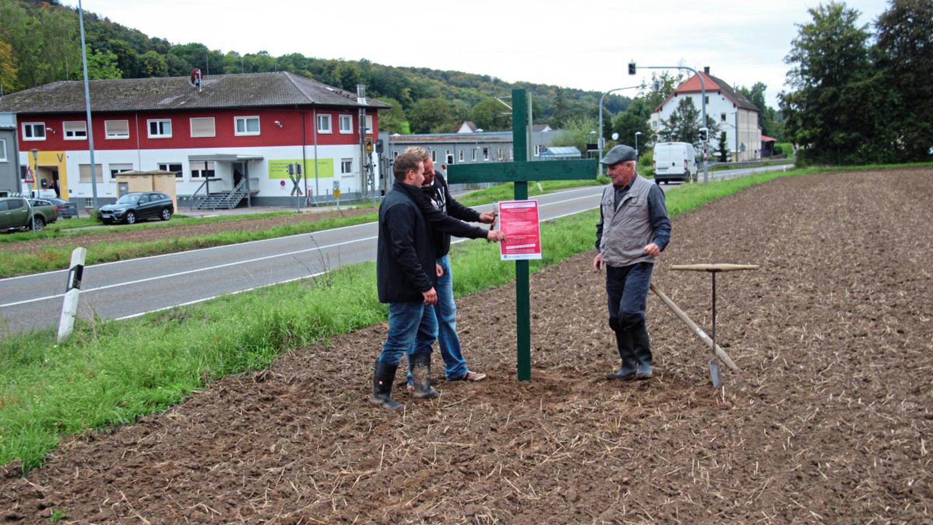 Die Landwirte Werner (rechts) und Jochen Kunz (links) vom Damianushof in Zeutern und Andreas Schlicht (Mitte), Obstbauer und Vorsitzender der Winzergenossenschaft Zeutern, stellen ein grünes Kreuz, um gegen die Forderungen des Volksbegehrens sichtbar zu protestieren.
