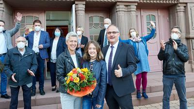 Bürgermeisterwahl Philippsburg, Stefan Martus mit Ehefrau Sandra und Tochter Anna