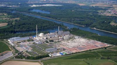 Philippsburg Kernkraftwerk ohne Kuehtuerme Luftbild vom 16.05.2020 Peter Sandbiller Luftbruchsal