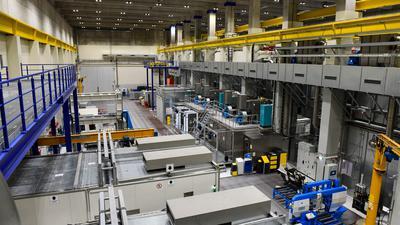 Bildunterschrift: Blick in das Reststoffbearbeitungszentrum Philippsburg (Quelle: EnBW)