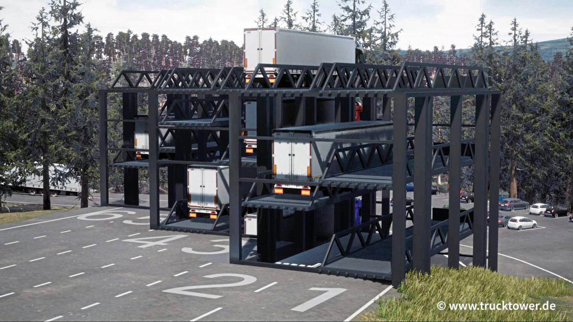 """Das Bruchsaler Softwareunternehmen Abona hat einen """"TruckTower"""" entwickelt, um dem Stellplatzmangel der Lkw entgegenzuwirken."""