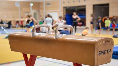 Ein Pauschenpferd steht während des Sportunterrichts in der Sporthalle einer Grundschule. Der Deutsche Lehrerverband hat sich trotz der Sportfaulheit deutscher Kinder- und Jugendlicher gegen Veränderungen am Sportunterricht ausgesprochen. (zu dpa «Trotz Bewegungsmuffeln - Lehrer gegen Änderungen am Sportunterricht») +++ dpa-Bildfunk +++