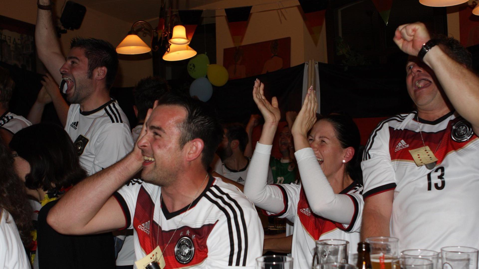 Bei der WM 2014 feierten die Fans in einer Kirrlacher Kneipe den Gewinn des Weltmeistertitels