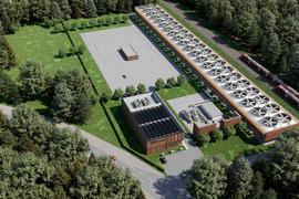 Skizze eines Fabrikgebäudes von oben.