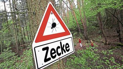 Ein Schild im Wald warnt vor Zecken. Bei den steigenden Temperaturen werden auch die Blutsauger unter anderem im Kraichtal wieder aktiv.