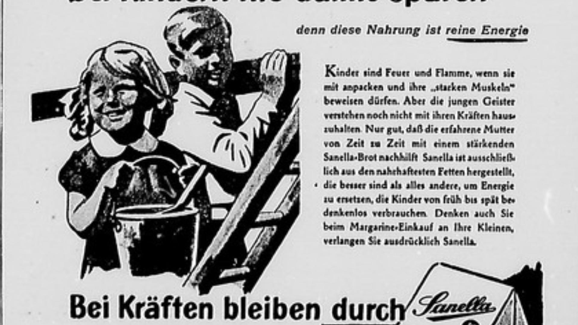 Alte Anzeige von 1949 wirbt für Sanella