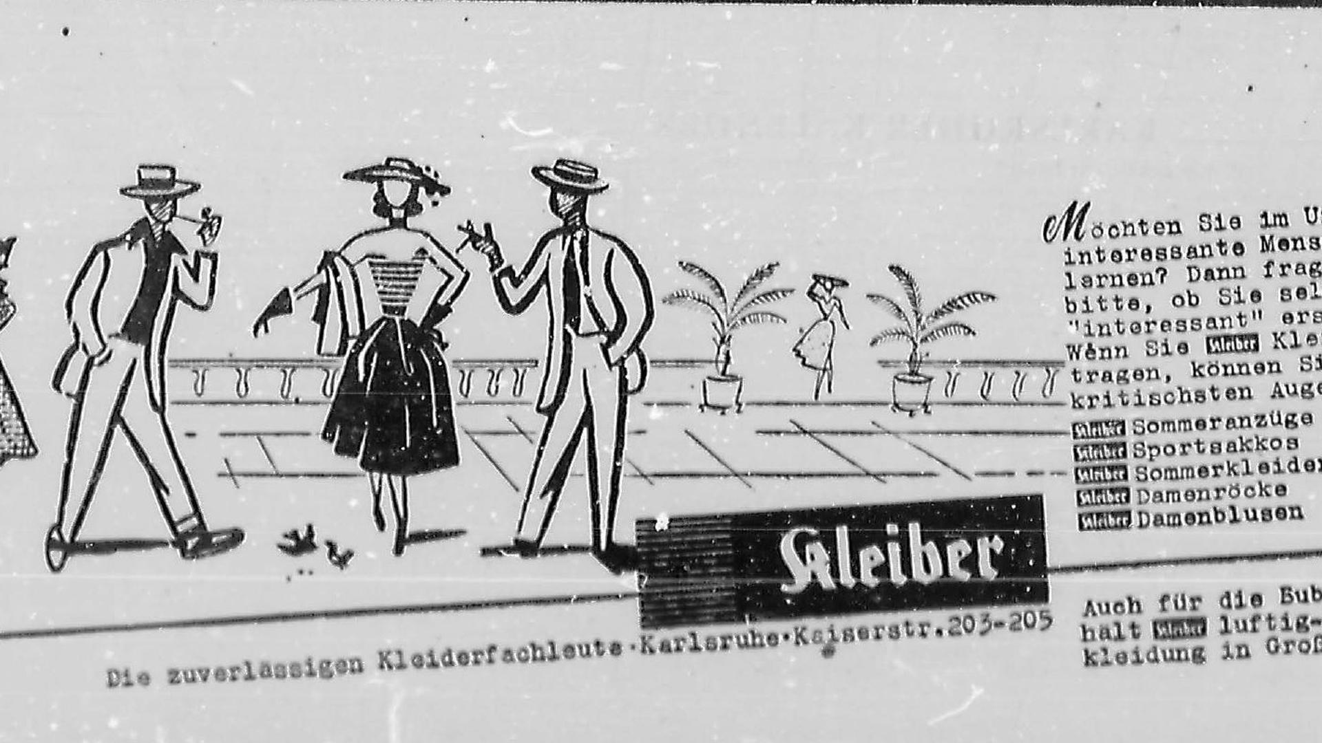 Eine alte Anzeige von 1952 wirbt für Kleiderfachgeschäft Kleiber