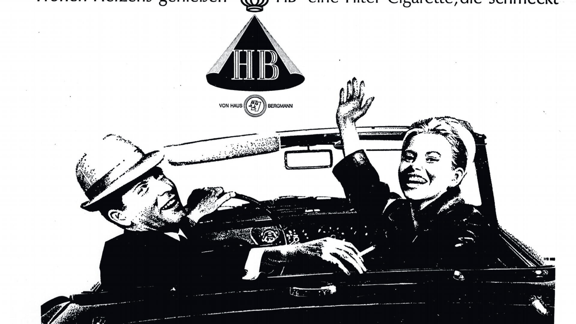 Alte Werbung von 1965 mit zwei Personen in einem Auto
