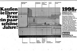 Alte Anzeige von 1968 für eine Küche von Möbel Mann