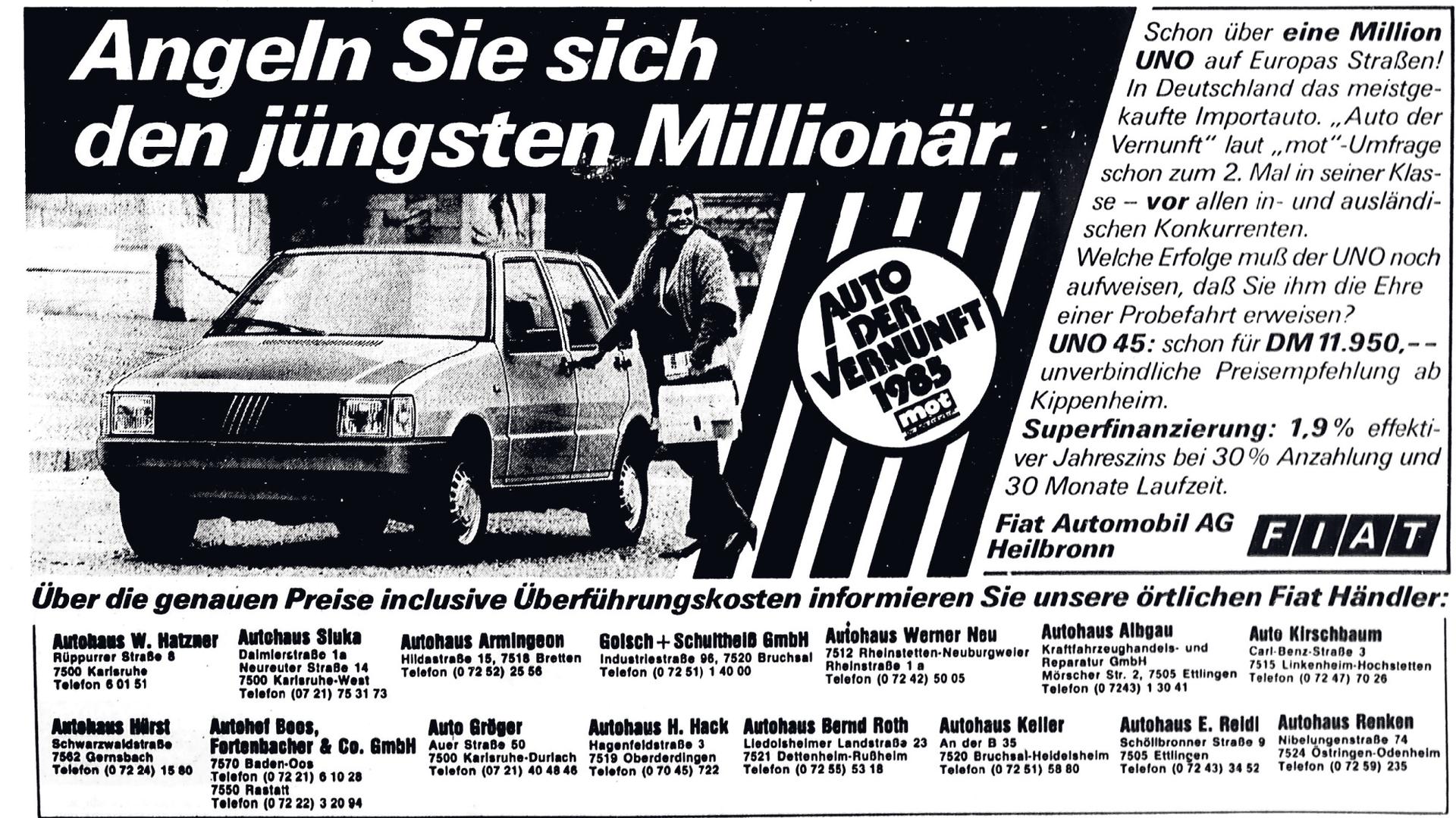 Alte Anzeige für Autos