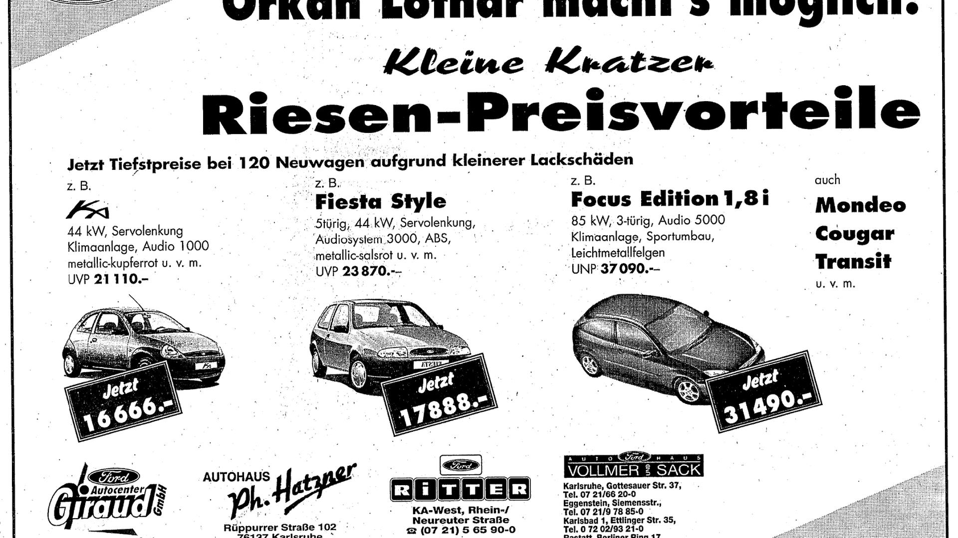 """Ford-Werbung von 2000 mit der Aufschrift """"Orkan Lothar macht's möglich! Kleine Kratzer, Riesen-Preisvorteile"""""""