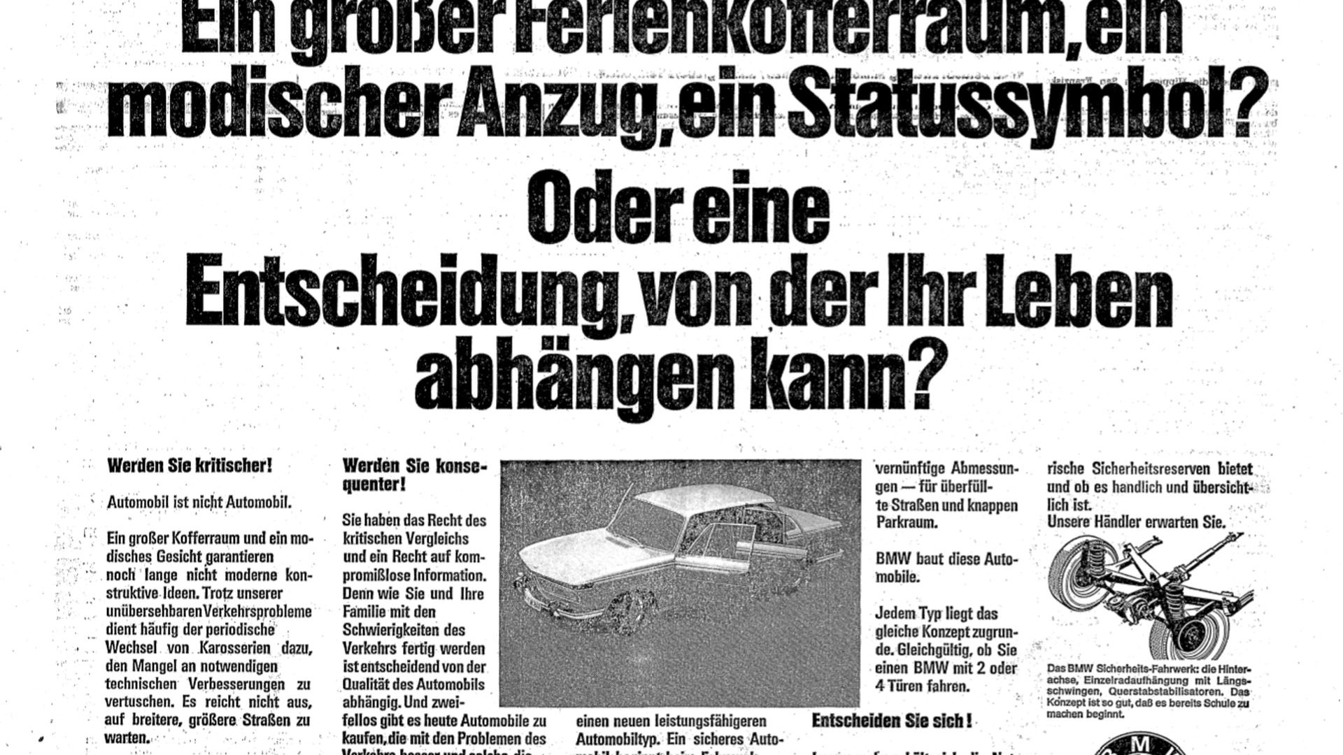 Alte Autowerbung aus dem Jahr 1968.
