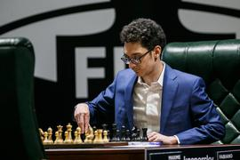 YEKATERINBURG, RUSSIA - MARCH 17, 2020: Chess player Fabiano Caruana of the USA during the 2020 FIDE Candidates chess tournament at the Hyatt Regency Ekaterinburg Hotel. The event is to determine who will challenge Magnus Carlsen for the title of the World Chess Champion. The event is held behind closed doors due to the coronavirus pandemic. Alexei Kolchin/TASS PUBLICATIONxINxGERxAUTxONLY TS0D282F