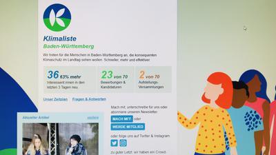 Ein Blick auf die Startseite der Homepage der Klimaliste Baden-Württemberg