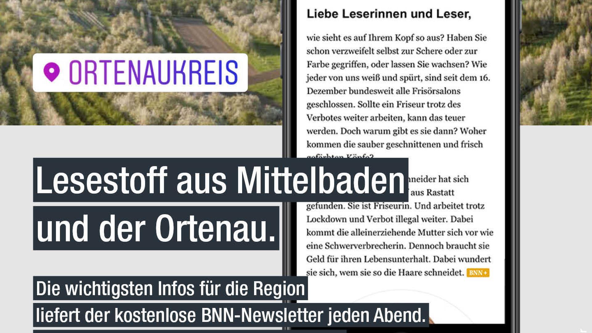 Smartphone mit Newsletter, dahinter Blick über Ortenau.