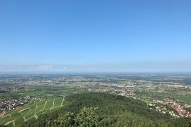 Blick auf Mittelbaden von der Yburg im Baden-Badener Rebland.