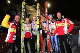 Weltcup 2009 in Kuusamo: Als Co-Trainer des deutschen Skisprung-Nationalteams war Rolf Schilli mit Pascal Bodmer, Michael Uhrmann, Michael Neumayer, Martin Schmitt und Cheftrainer Werner Schuster (von links) in Finnland erfolgreich.