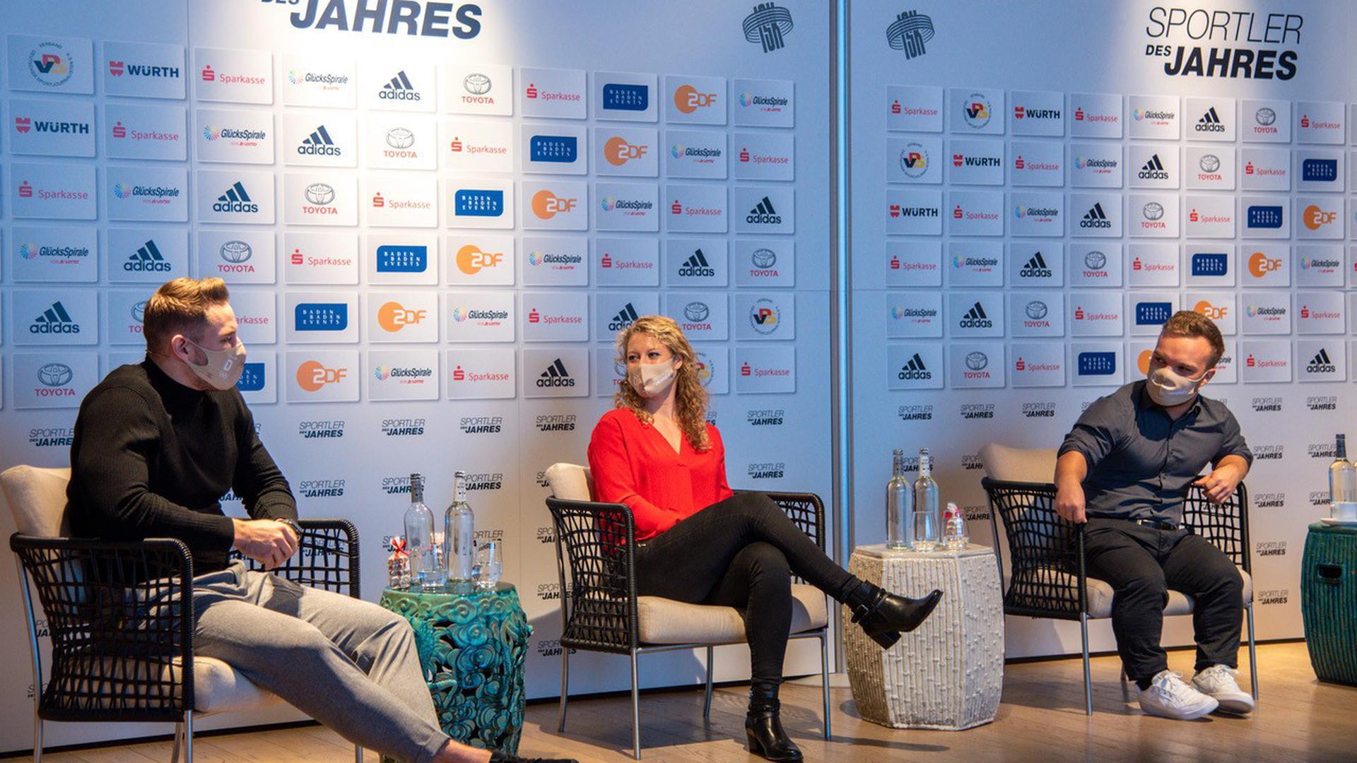 Vorab-Pressekonferenz Sportler des Jahres 2020: Johannes Vetter (von links), Laura Siegemund und Niko Kappel.