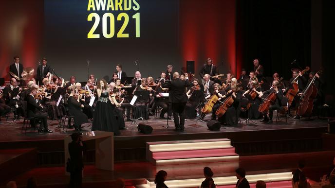 """Das SAP-Sinfonieorchester und Sängerin Kerstin Bauer sorgten für die musikalische Untermalung bei den """"Made in Baden""""-Awards."""