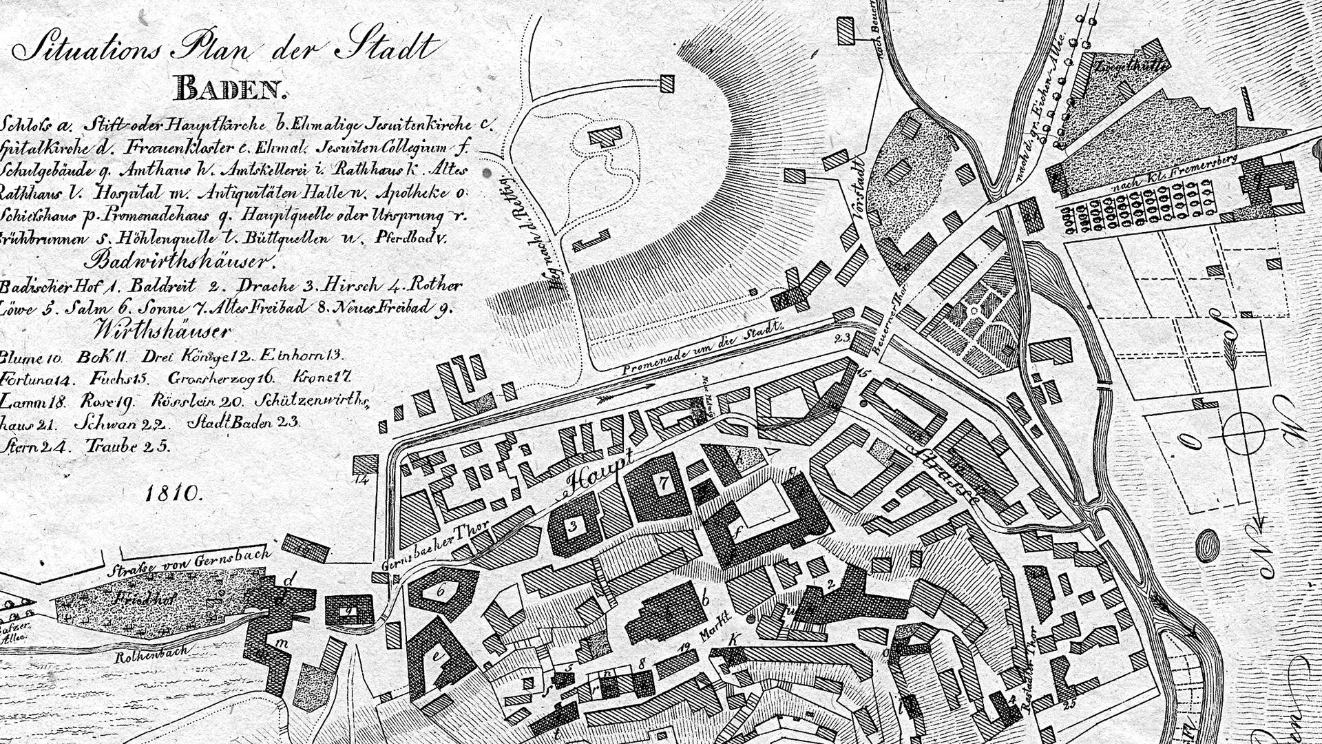 Baden-Baden: Stadtplan von 1810. Oben rechts ist das Promenadehaus mit der Kastanienallee zu sehen.
