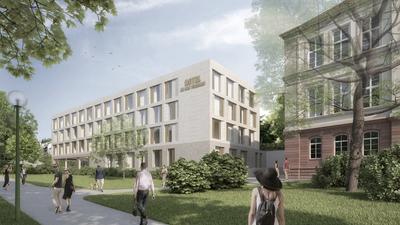 Eine Visualisierung zeigt das geplante Hotel an den Thermen, das in Baden-Baden auf dem Gelände des alten Gefängnisses entstehen soll.