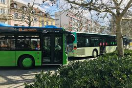 Zwei Busse der Baden-Baden-Linie (BBL) stehen an der Haltestelle am Augustaplatz.