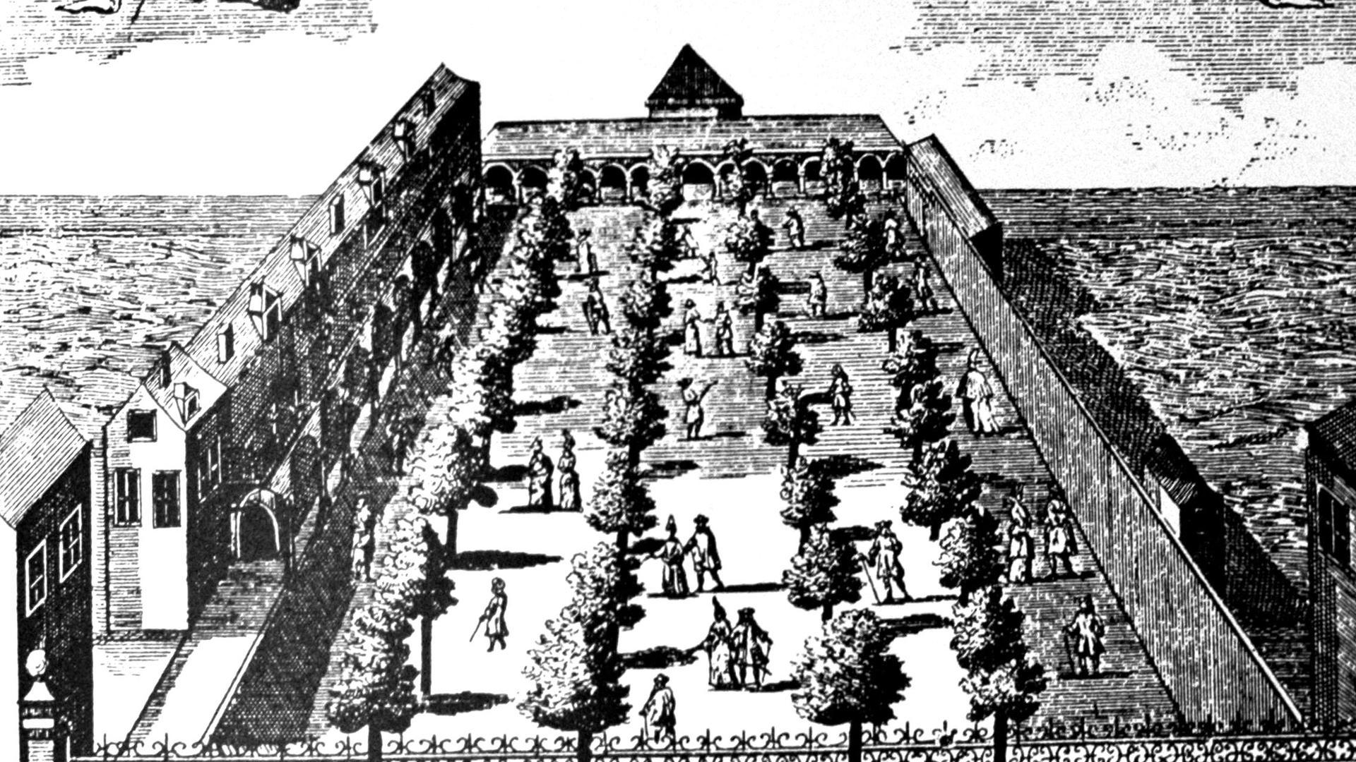 Spaziergang im Jahr 1737. Aus: Karl Ludwig von Pöllnitz, Amüsements des eaux d' Aix-la-chapelle oder Zeitvertreib bey den Wassern zu Aachen, Berlin 1737.