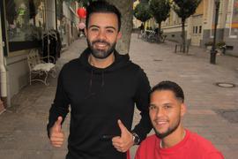 Einfach gut drauf: Dejan Stefanovic (rechts) und sein Sportfreund Fahri Tekin trainieren und laufen gleichzeitig für einen guten Zweck.