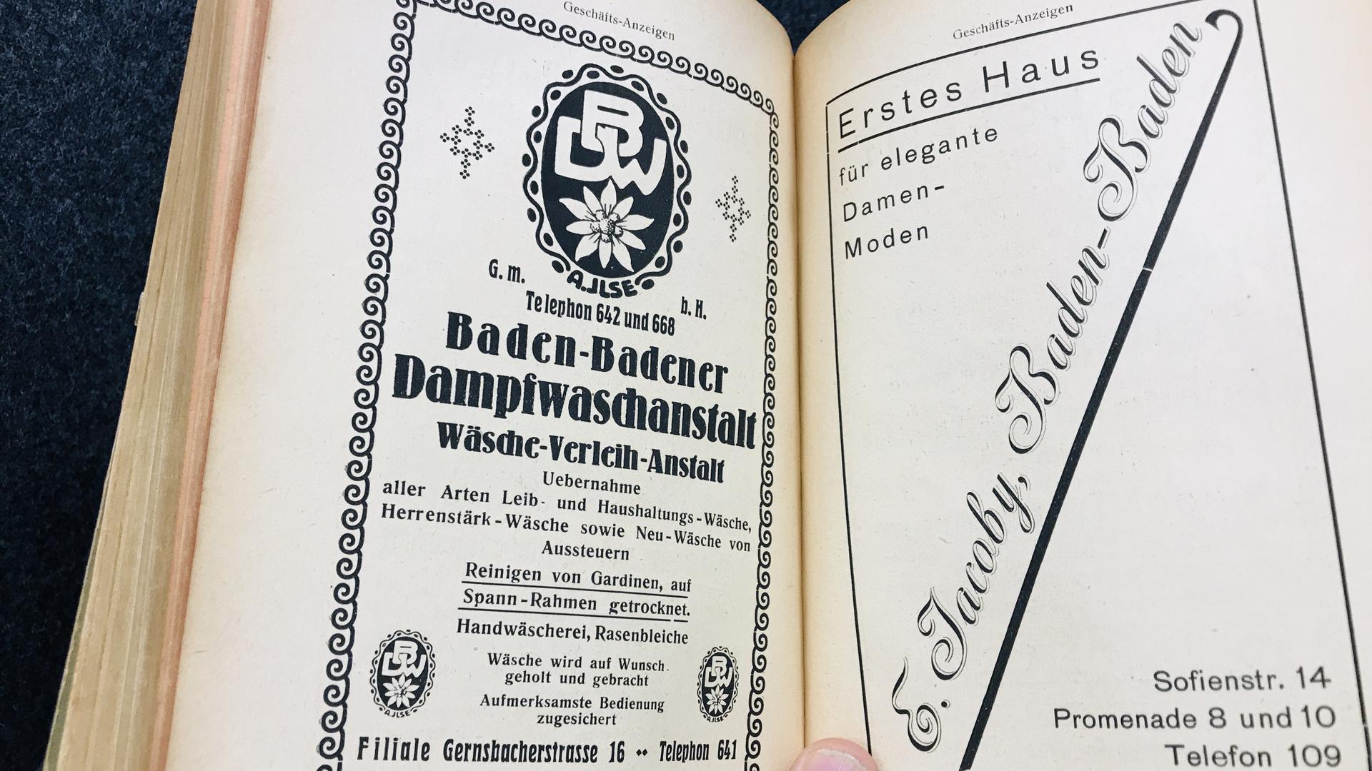 Im Adressbuch von Baden-Baden aus dem Jahr 1920 preist die Baden-Badener Dampfwaschanstalt ihre Dienste an.