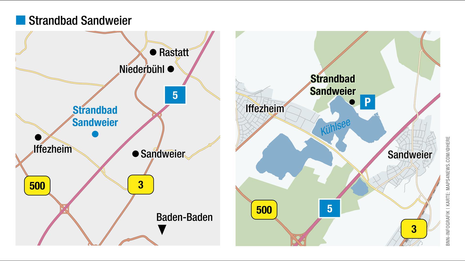 Blick auf die Landkarte: Hier liegt das Strandbad Sandweier.