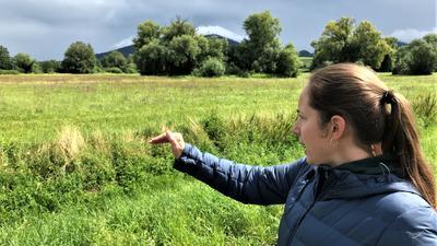 Eine Frau zeigt auf eine Wiese.