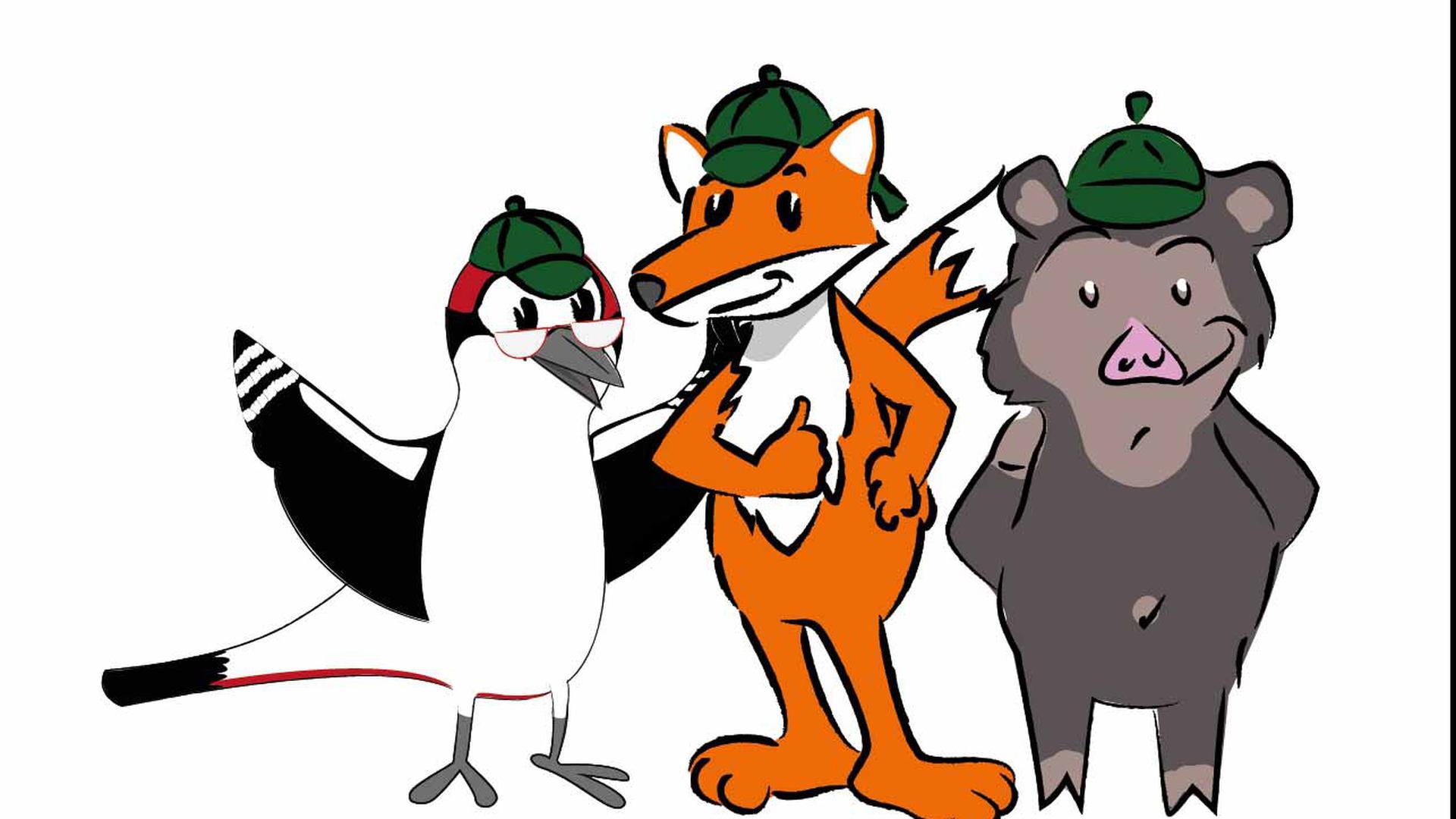 Wally Wildschwein, Dr. Bertold Buntspecht und Fabio Fuchs sind die Naturpark-Detektive.