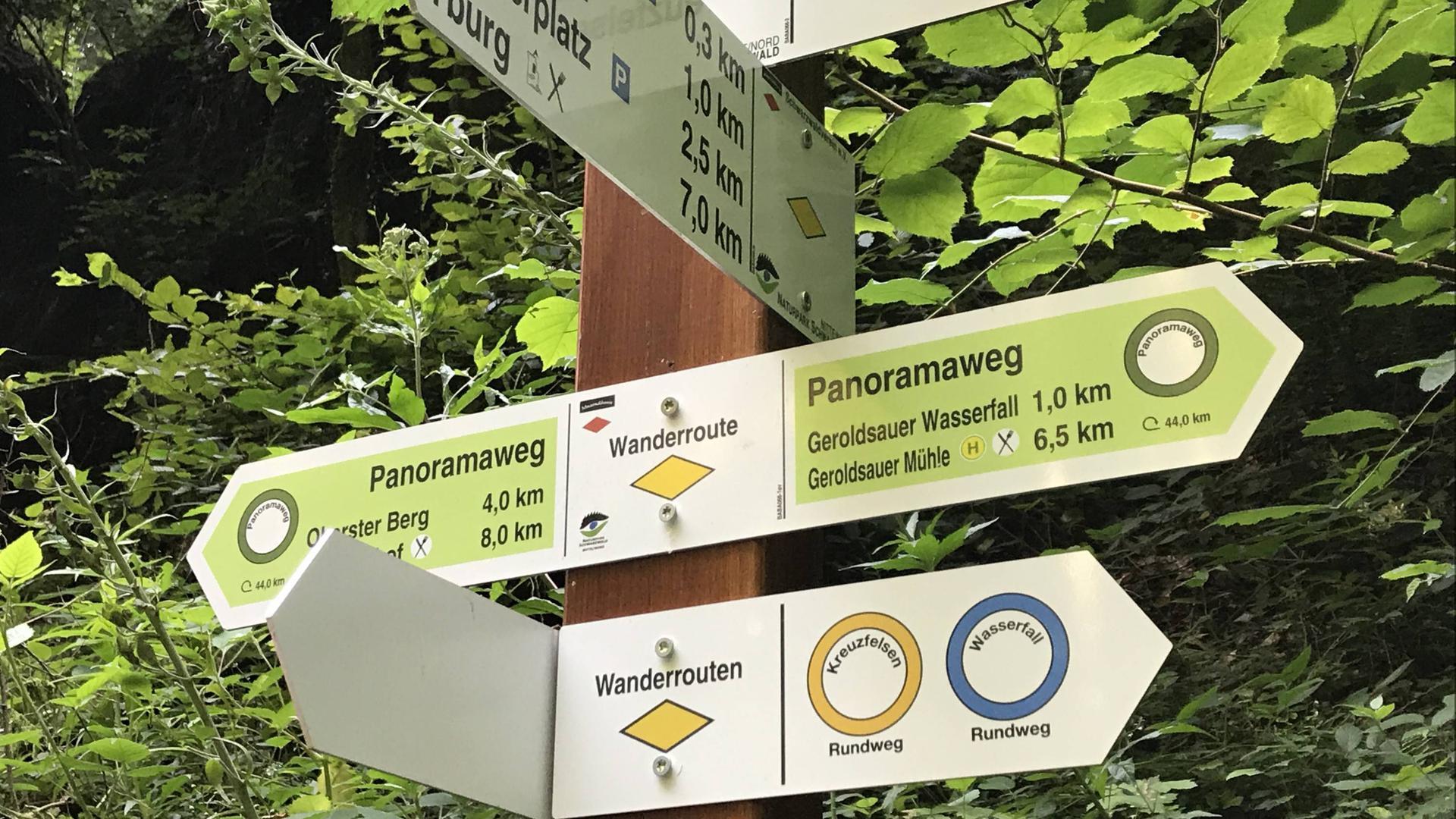 Hinweisschilder zeigen den Panoramaweg an.