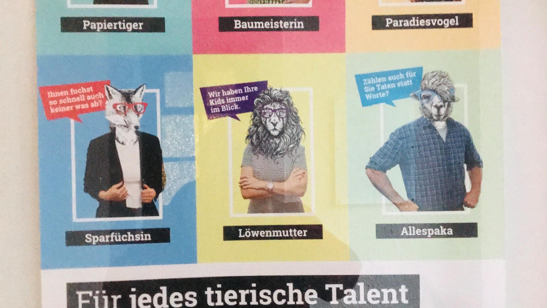 Mit einem bunten und frechen Plakat  wirbt die Stadt Baden-Baden um Personal