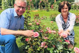 Oberbürgermeisterin Margret Mergen und der Chef der städtischen Parks und Gärten, Markus Brunsing, fiebern dem 69. Rosenneuheitenwettbwerb entgegen. Hier begutachten sie eine Wettbewerbskandidatin.