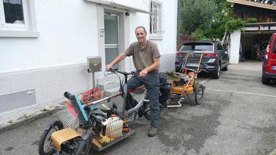 Thomas Armbruster mit seinem Lastenrad, Baden-Baden