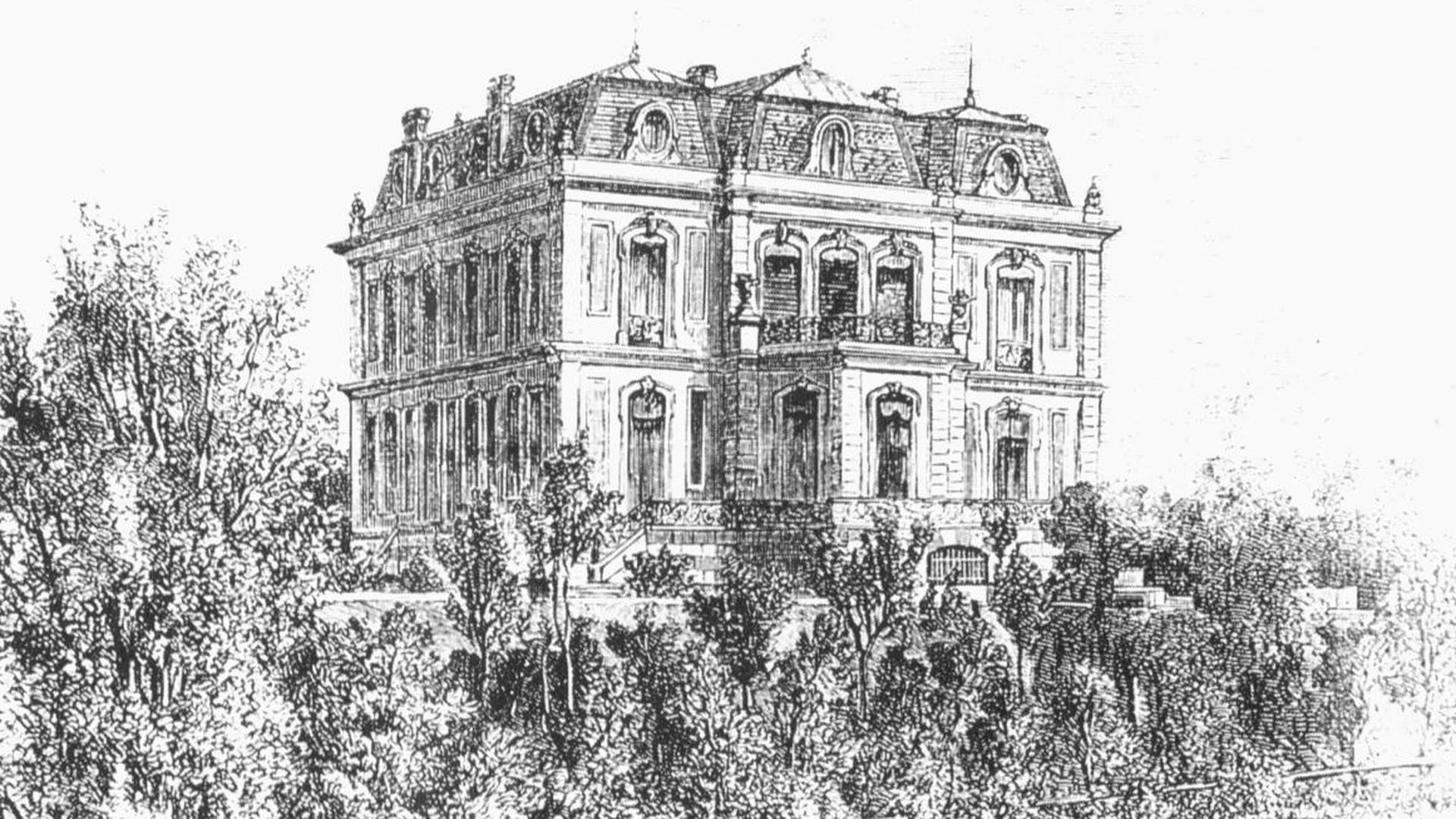 Entwurfsskizze der Villa Winterhalter bzw. Trianon in Baden-Baden