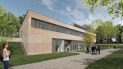 Eine Visualisierung zeigt die geplante neue Fassade mit Tonschindeln für die Louis-Lepoix-Schule Baden-Baden.