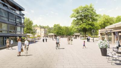 Eine Visualisierung zeigt flanierende Menschen auf der Fieser-Brücke in Baden-Baden.