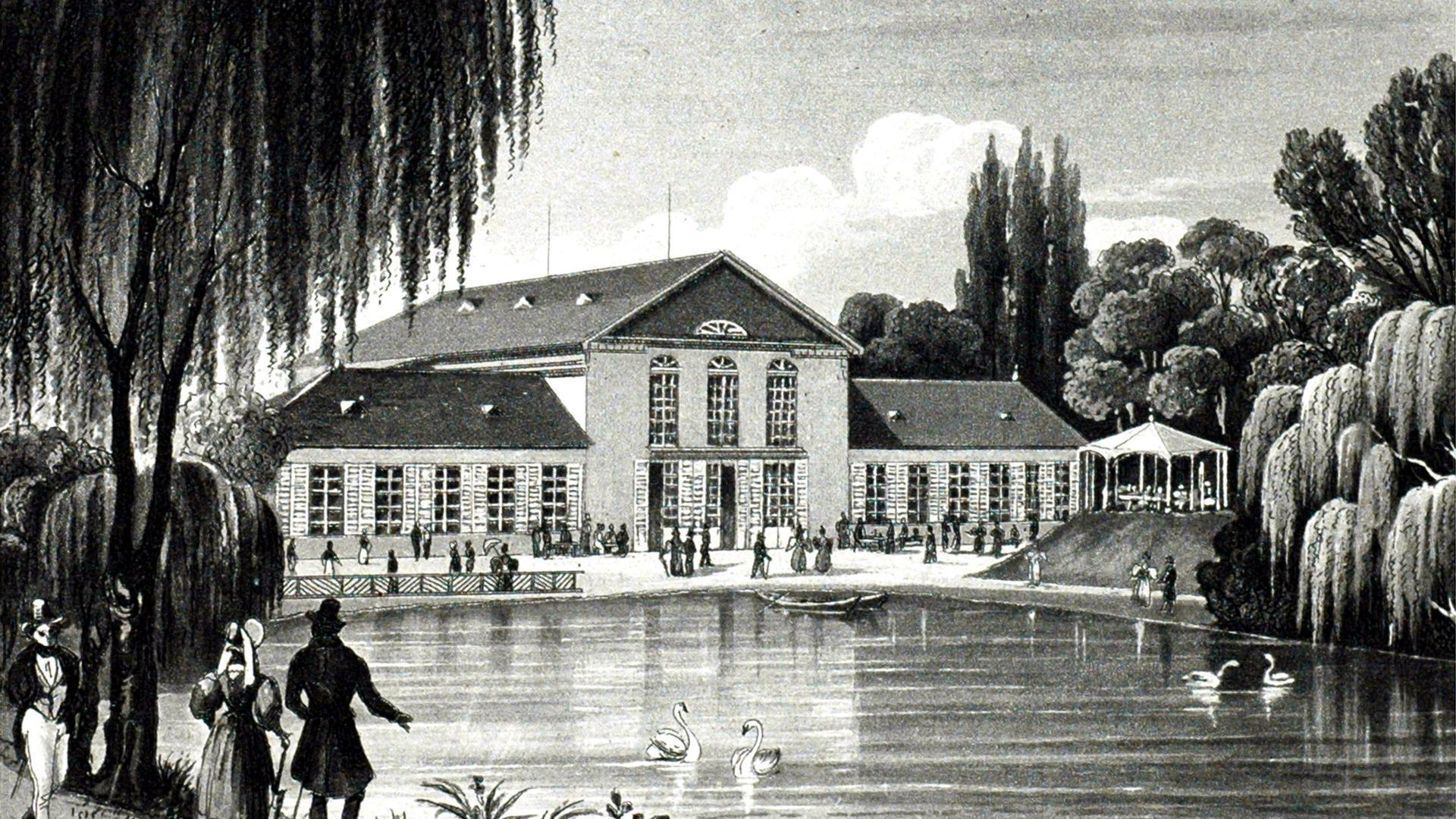 Kurhaus von Christian Zais, Rückseite, Aquatinta, gez. von Jakok Fürchtegott Dielmann, gestochen von Martens, um 1850