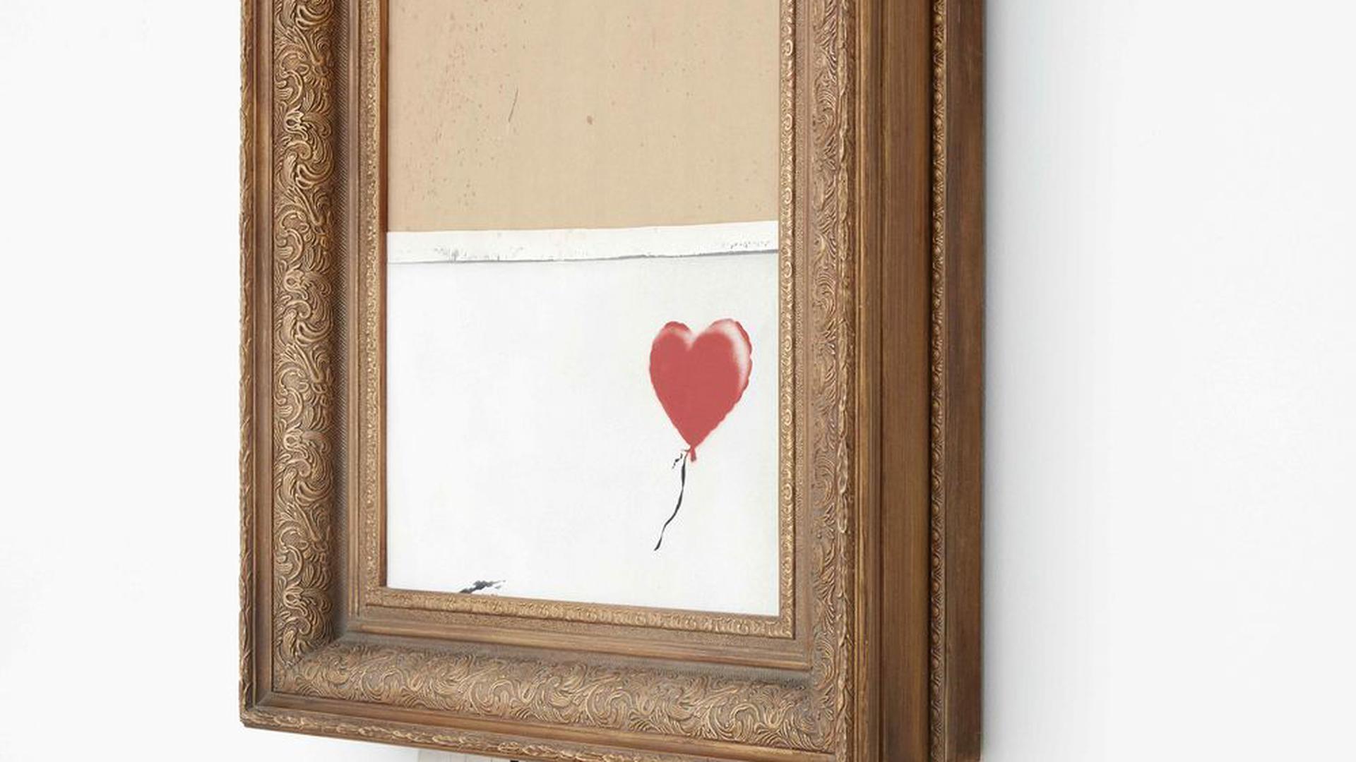 Banksy: Love is in the Bin, 2018, Sprayfarbe und Acryl auf Leinwand, 142 x 78 x 18 cm, Privatsammlung.