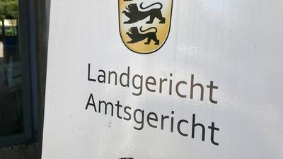Eingangsschild Landgericht Baden-Baden.