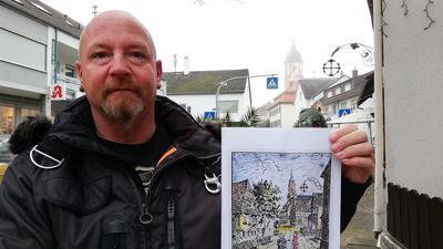 Nickel hält ein altes Bild der Eberbachstraße in die Kamera.