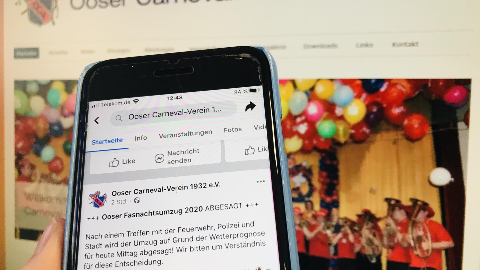 Kurzfristig abgesagt wurde am Dienstag der Fastnachtsumzug in Baden-Oos. Der Verein machte das über Facebook bekannt.