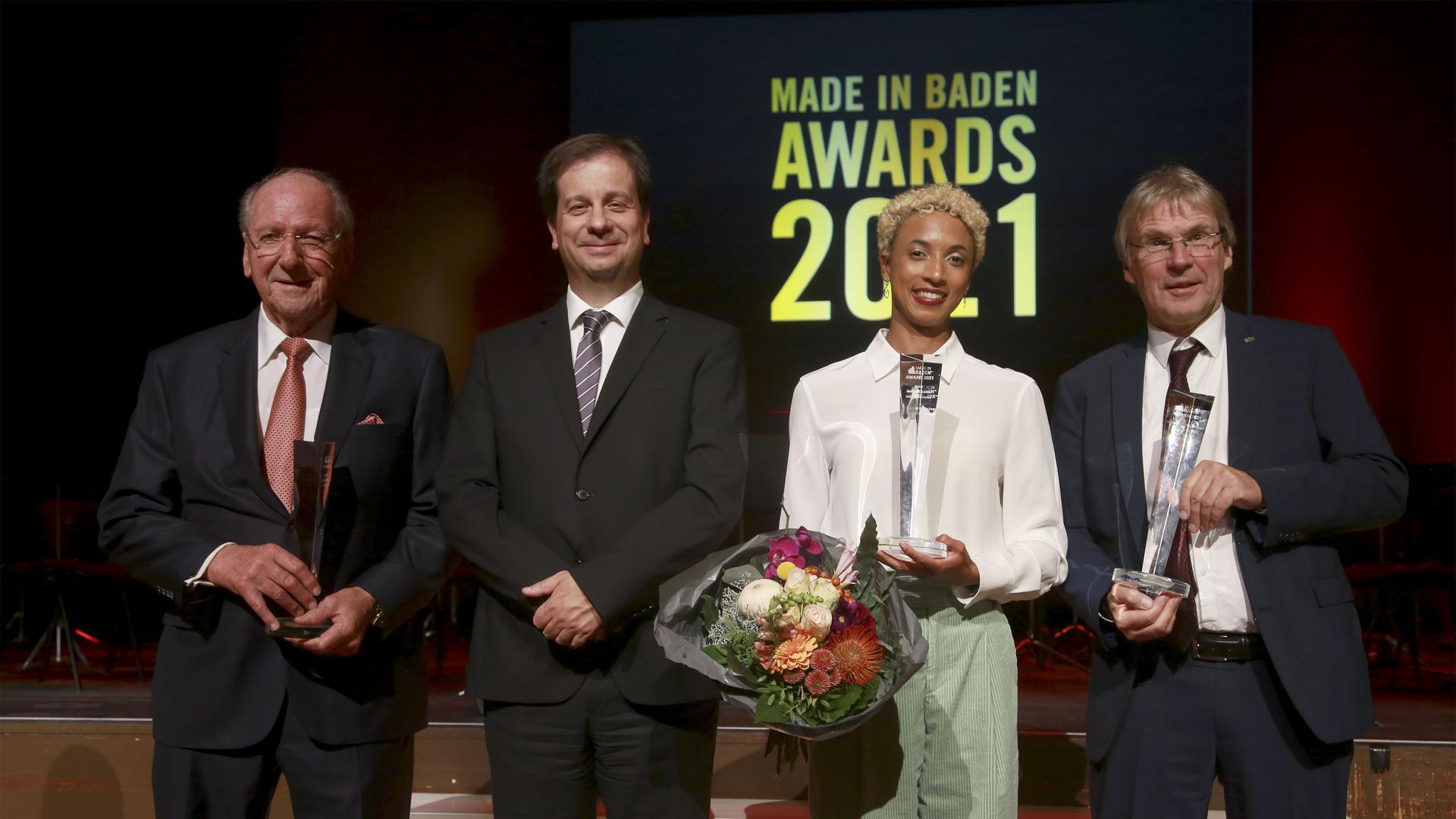 """Die Preisträger der diesjährigen """"Made in Baden""""-Awards: Hans Weber, Luka Mucic, Malaika Mihambo und Holger Hanselka."""