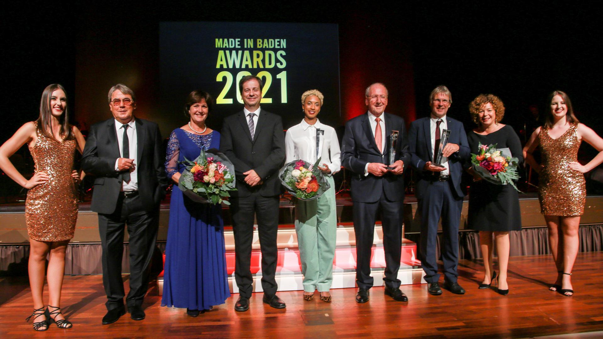 """Die Preisträger der """"Made in Baden""""-Awards bei der Verleihung am Freitagabend im Baden-Badener Kurhaus."""
