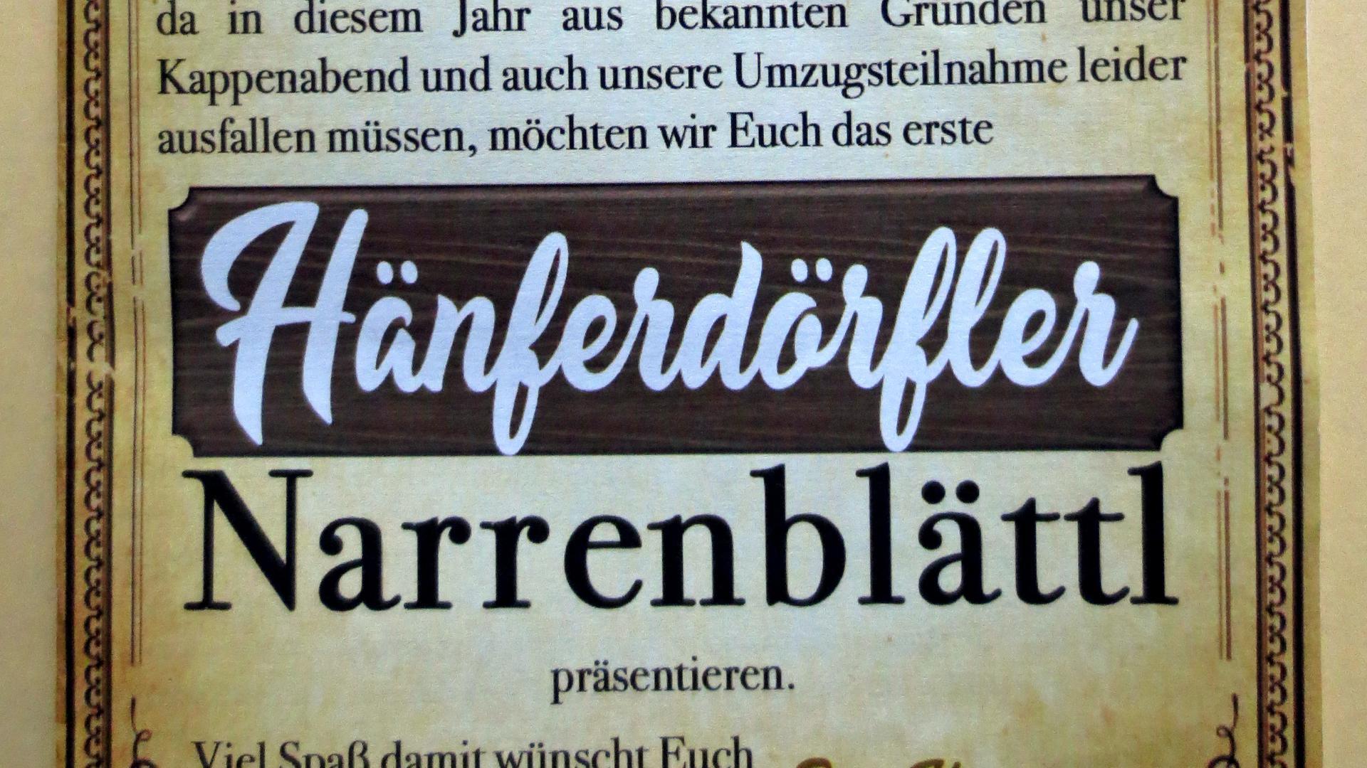 Titelseite des Hänferdorf-Narrenblättl